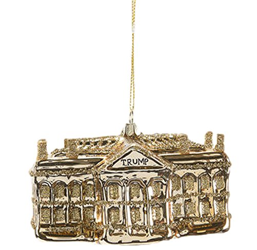 One Hundred 80 Degrees Gold White House Hanging Ornament
