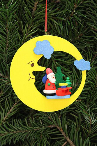Tree ornaments Tree ornament Santa Claus with sleigh in moon – 8,3×7,9cm / 3.3×3.1inch – Christian Ulbricht