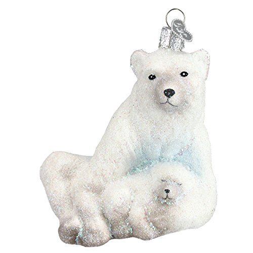 Old World Christmas Polar Bear with Cub Glass Blown Ornament