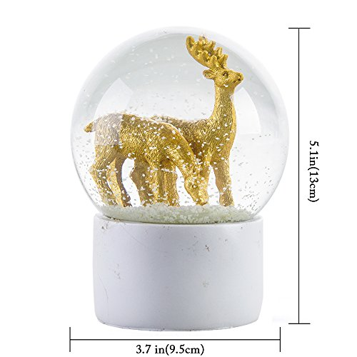 APELPES Snow Globes crafts- Sculptured Snowglobes – Christmas Valentine's day birthday holiday new year's gift (Diameter 100mm, Deer)