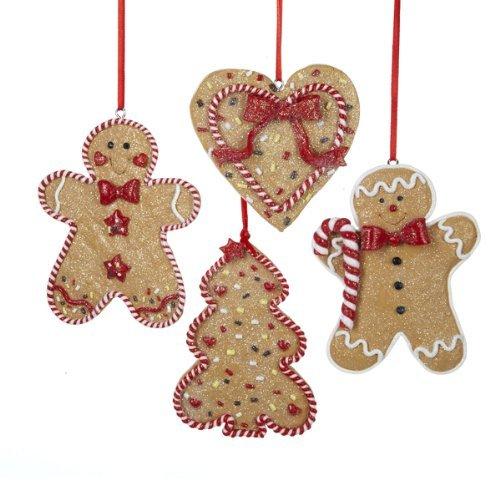 Kurt Adler Gingerbread Men, Tree And Heart Ornaments, Set Of 12 (3 of Each)