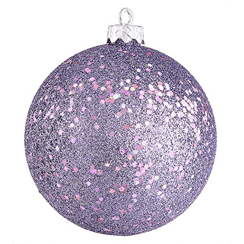 Vickerman Sequin Finish Christmas Ball Ornament Seamless Shatterproof with Drilled Cap, 8″ , Lavender