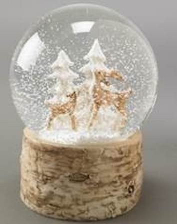 Deer and Trees Forest Snow Globe on Birch Finish Base – 120 ML