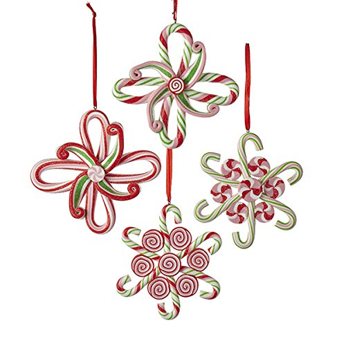 Kurt Adler 4″ Claydough Candy Snowflake Ornament 4/asstd
