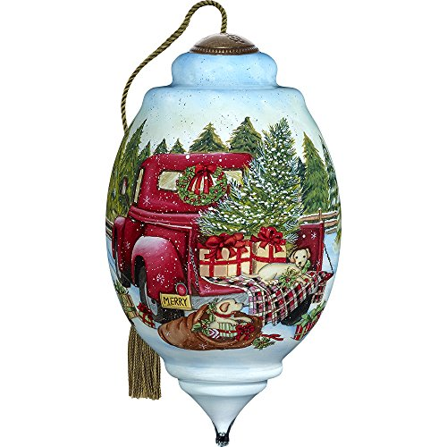 Precious Moments, Ne'Qwa Art 7171151 Hand Painted Blown Glass Standard Trillion Shaped Puppies and Presents Ornament, 5.5-inches