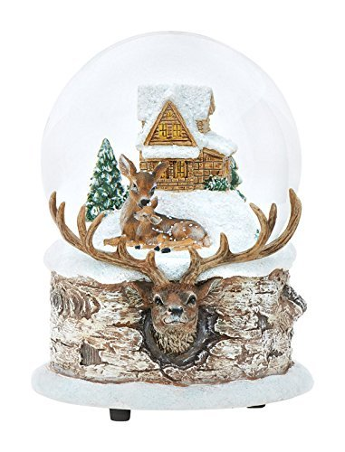 "Winter Mom & Baby Deer Fawn Christmas Musical Snow Globe Glitterdome Plays ""Have Yourself A Merry Little Christmas"""