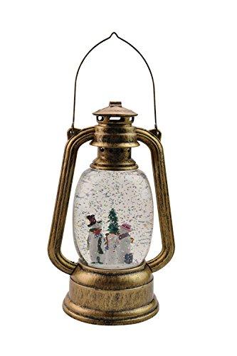 Eldnacele Battery Operated Lighted Christmas Led Lantern Snowman Water Snow Glitter Globe Christians Lantern Decor Snowman Family