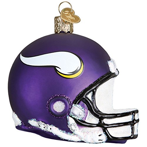 Old World Christmas Glass Blown Ornament with S-Hook, NFL Football Collection (Helmet, Minnesota Vikings)
