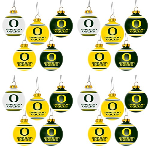NCAA Oregon Ducks Plastic Christmas Ball Ornament 5 Pack Bundle 4 Pack By Forever Collectibles