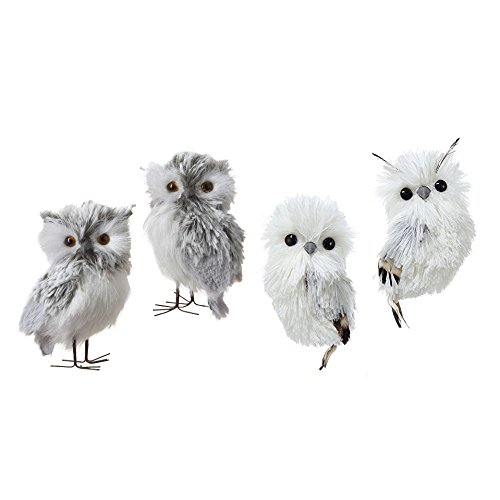 Kurt Adler Furry Gray And Silver Owl Ornaments Set of 4