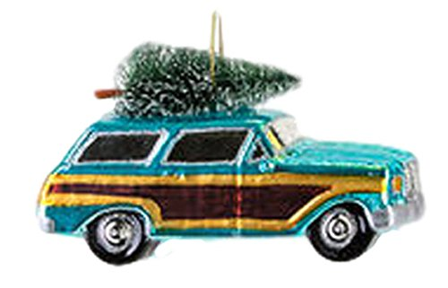 One Hundred 80 Degrees Woody Station Wagon Hanging Ornament (Blue)