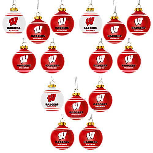 NCAA Wisconsin Badgers Plastic Christmas Ball Ornament 5 Pack Bundle 3 Pack By Forever Collectibles
