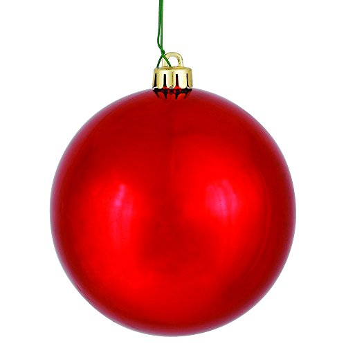 Vickerman Shiny Finish Seamless Shatterproof Christmas Ball Ornament, UV Resistant with Drilled Cap, 6 per Bag, 4″, Red