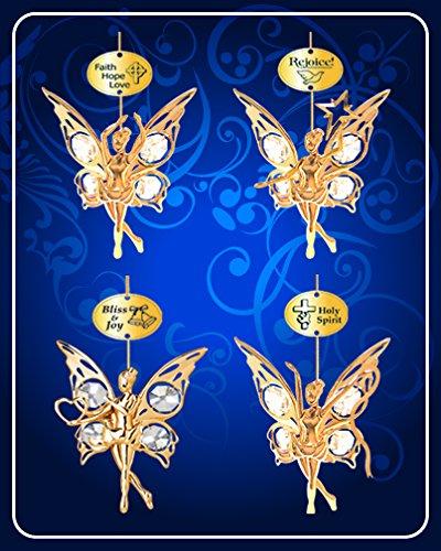 Set of 4 Ornaments – 24k Gold Plated Angel W/clear Swarovski Austrian Crystal