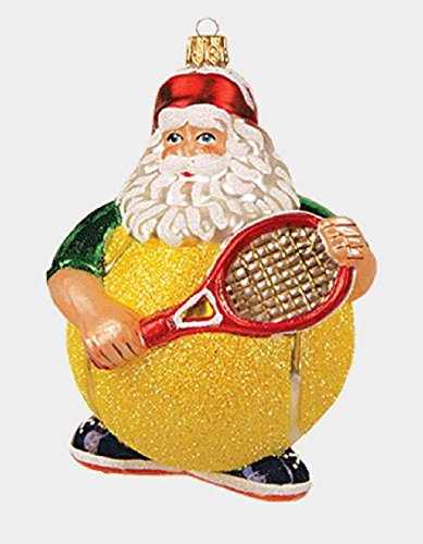 Tennis Ball Santa Claus Polish Glass Christmas Tree Ornament Sports Decoration