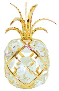 24k Gold Pineapple Ornament with Clear Swarovski Crystal Element