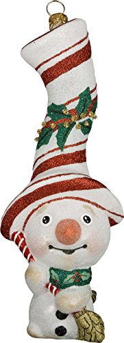 Glitterazzi Peppermint Twist Snowman Ornament by Joy to the World