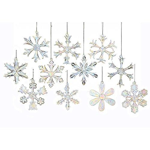 Kurt Adler 2″ Glass Iridescent Snowflake Ornaments, 18-piece Set