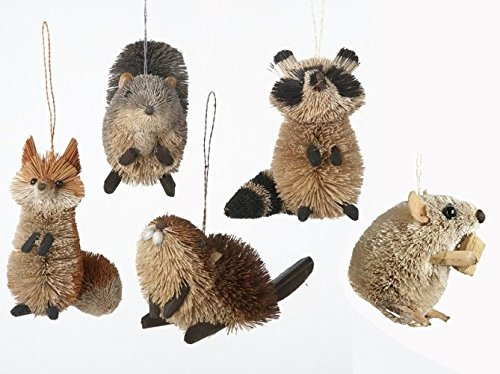 Kurt Adler Buri Woodland Animals Squirrel, Raccoon, Fox, Beaver And Mouse Christmas Ornaments (set of 5 Assorted)