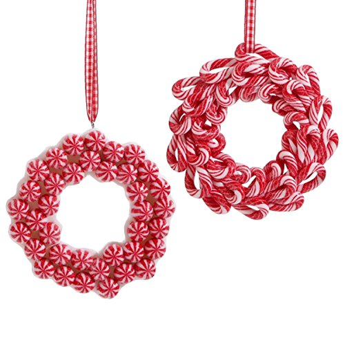 Set of 2 Candy Cane Peppermint Wreath Christmas Ornaments, 4 1/2 Inch