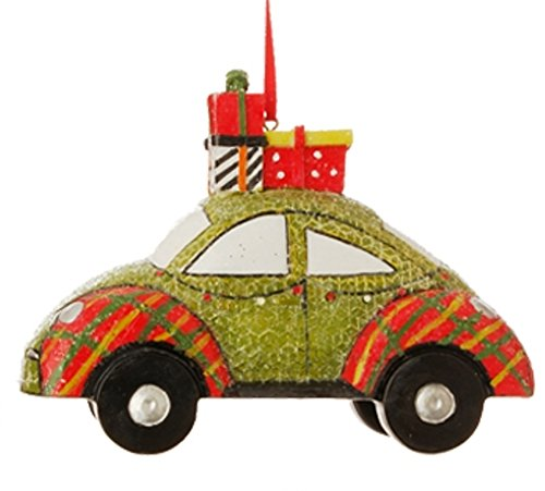 RAZ Jingle All The Way Automobile Ornament, Green Beetle