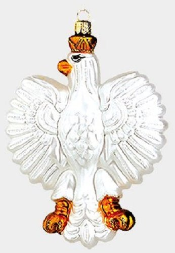 White Poland Eagle Polish Glass Christmas Ornament Coat of Arms Decoration
