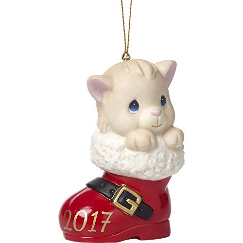 Precious Moments Holiday Christmas Bisque Porcelain Hanging Ornament with S-Hook (Have a Pawsitively Soleful Christmas, 171007)