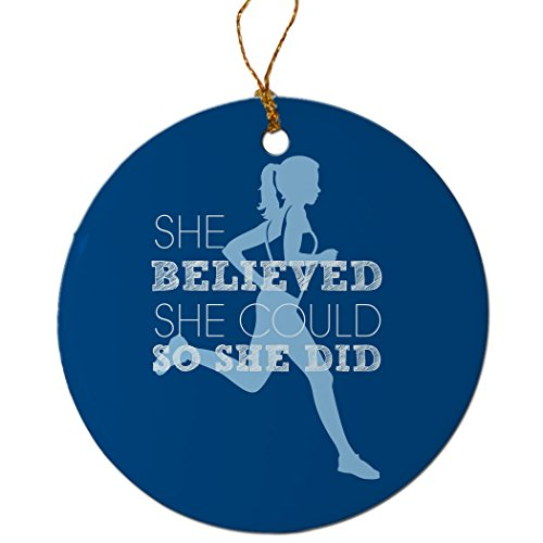 She Believed She Could So She Did (Blue) Ornament | Running Porcelain Ornaments by Gone For a Run | Blue