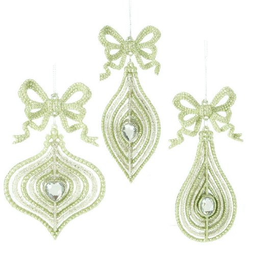 RAZ Imports – Green and Silver Ornaments with Bows