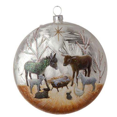 Nativity Manger Scene with Baby Jesus and Animals Glass Ball Christmas Tree Ornament, 5 Inches