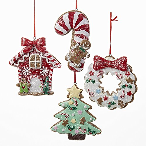 Kurt Adler 1 Set 4 Assorted Clay Dough 4 Inch Christmas Cookie Christmas Tree, Candy Cane, House And Wreath Ornaments