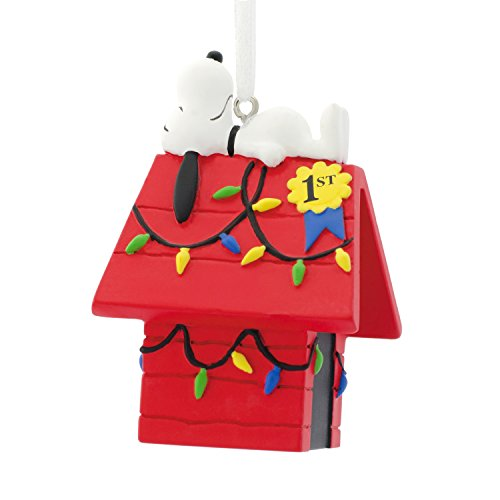 Hallmark Peanuts Snoopy on Decorated Dog House Christmas Ornament