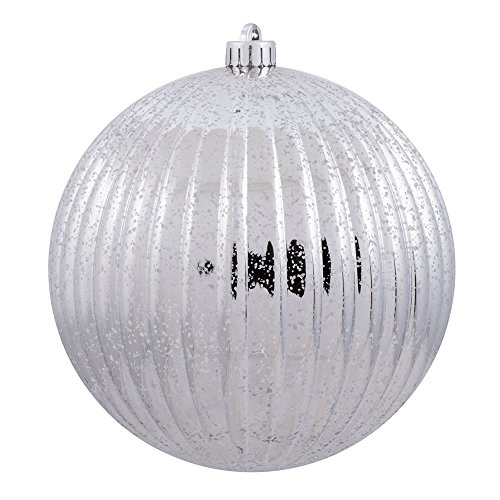 Vickerman M162207 Mercury Finish Plastic Shatterproof Pumpkin Ball 6 to a bag, 4″, Silver