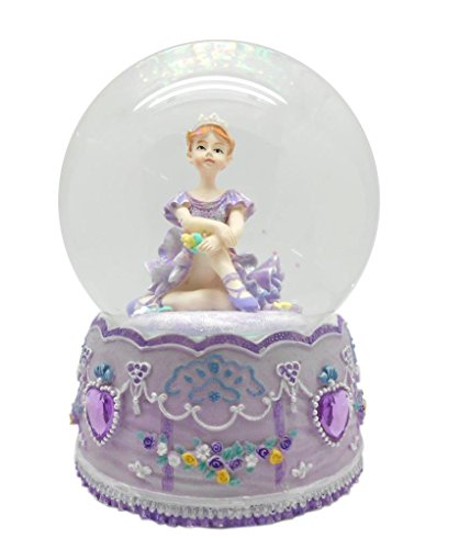 Lightahead 100MM BALLERINA Sitting Music Water Snow Globe with Inside Figurine Revolving playing tune SWAN LAKE