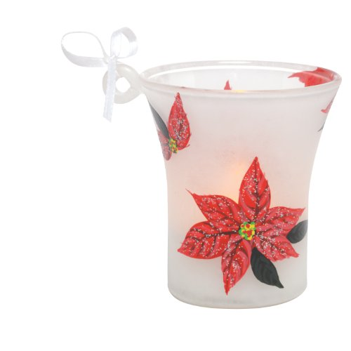 Santa Barbara Design Studio Lolita Holiday Mini Candle LED Ornament, Poinsettia