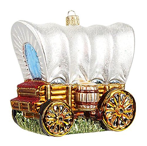 Western Covered Wagon Stagecoach Polish Glass Christmas Tree Ornament Decoration