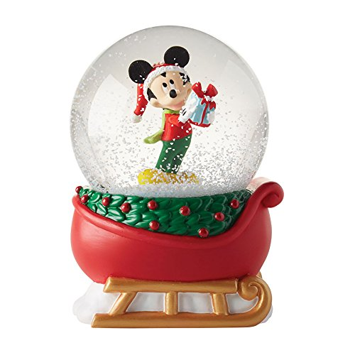 Department 56 Disney Mickey on a Sleigh Waterball Snowglobe