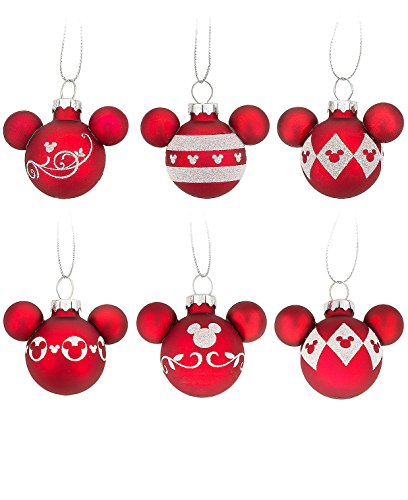 Disney Parks Mickey Mouse Ears Red White Design Ornament Set of 6