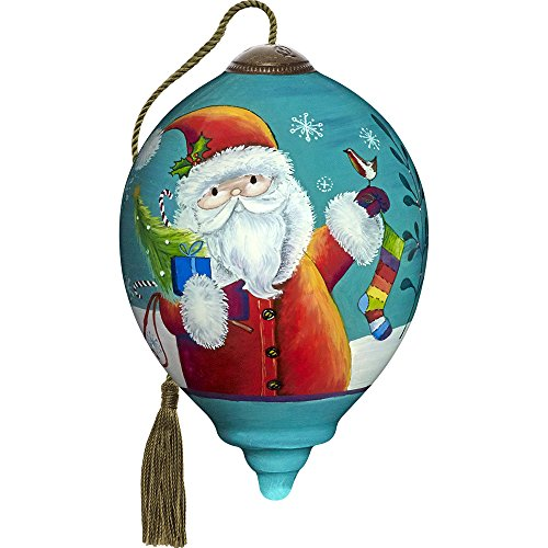 Precious Moments, Ne'Qwa Art 7171130 Hand Painted Blown Glass Petite Princess Shaped Merry And Bright Santa Ornament, 3-inches