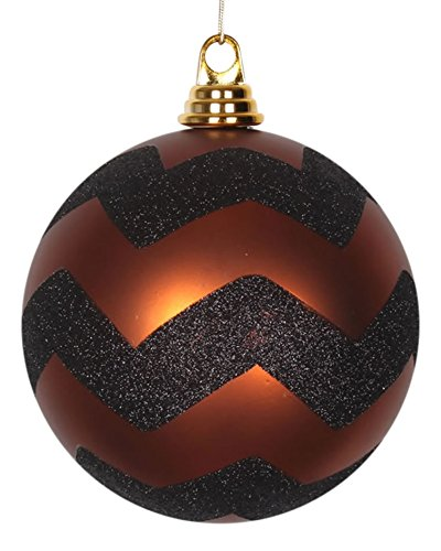 Vickerman Copper Matte with Black Glitter Chevron Commercial Size Christmas Ball Ornament 6″ (150mm)