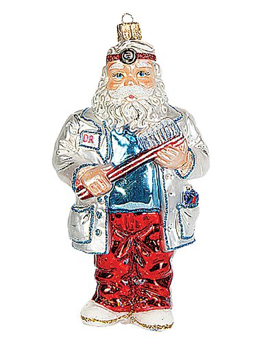 Dentist Santa Polish Mouth Blown Glass Christmas Ornament Tree Decoration