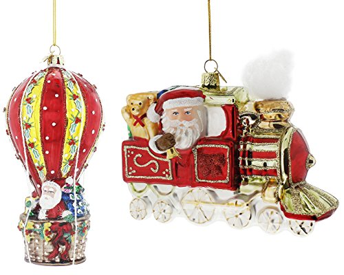 Kurt Adler Noble Gems Santa Travel Glass Ornament (2 Piece Santa Travel Set)