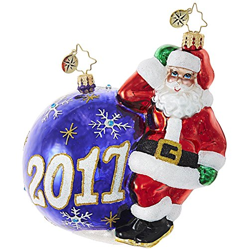 Christopher Radko Having a Ball 2017 Dated Santa Glass Ornament
