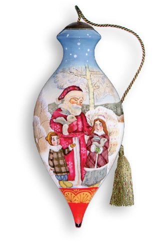 Santa And Children Hand Painted Glass Ornament