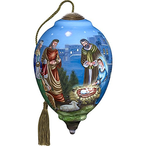 Precious Moments, Ne'Qwa Art 7171103 Hand Painted Blown Glass Princess Shaped Ormament, Holy Gathering of Mary, Joseph, The Three Wisemen and Baby Jesus, 6.75-inches