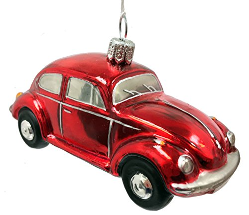 Red Volkswagen Beetle Car Polish Glass Christmas Ornament VW Bug Decoration