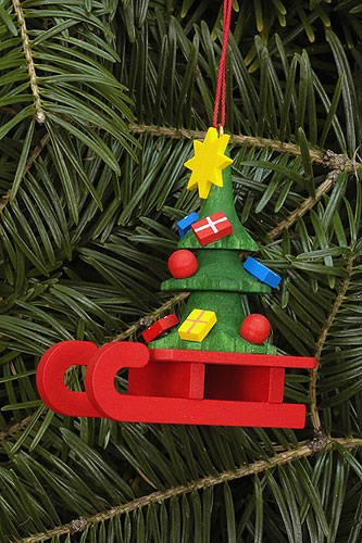Christmas Tree Decorations Sleigh with Christmas Tree