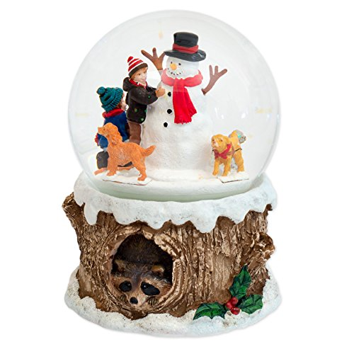 6″ Dogs Around Snowman Dome Revolving Wind Up 100mm Plays Jingle Bell Rock