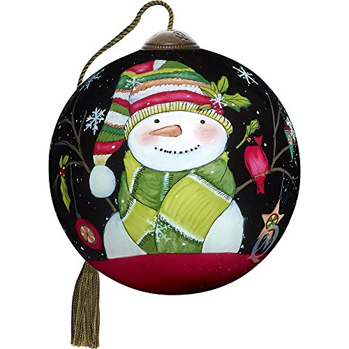 Precious Moments, Ne'Qwa Art 7171149 Hand Painted Blown Glass Petite Round Shaped Decked Out for Christmas Smiling Snowman Ornament, 2.5-inches