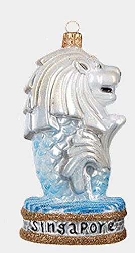 Merlion Statue Singapore Polish Mouth Blown Glass Christmas Ornament